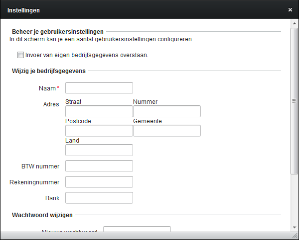 FCTR gebruikersinstellingen